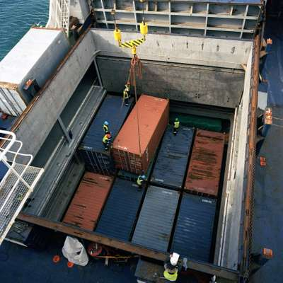 Cargo being loaded on to the ship