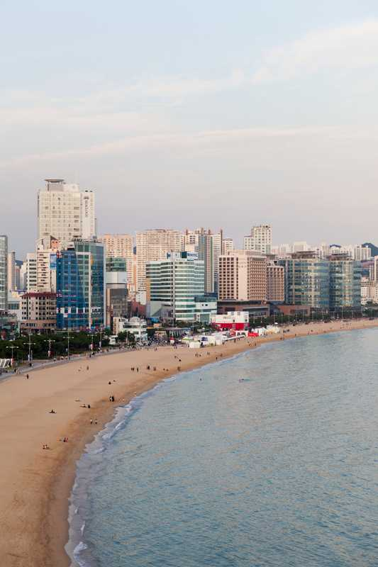 Haeundee beach - festival events take place in the hotels on its stretch
