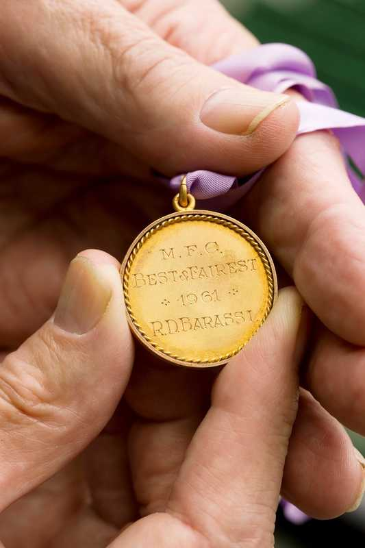 One of Barassi's Melbourne Football Club 'best and fairest' medals