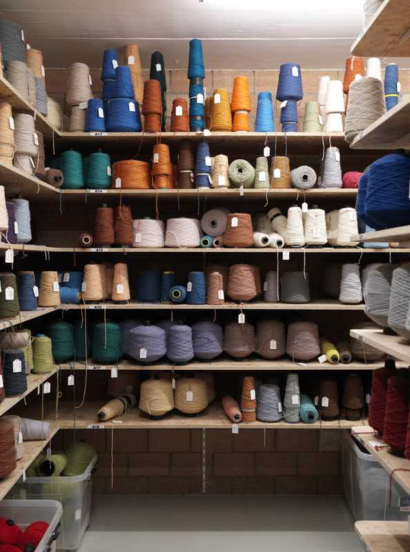 Colourful wool storage room