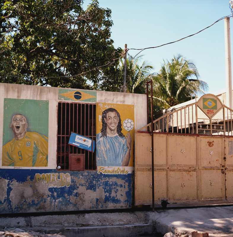 A mural of Brazilian footballers Ronaldo and Ronaldinho painted on a business in the capital