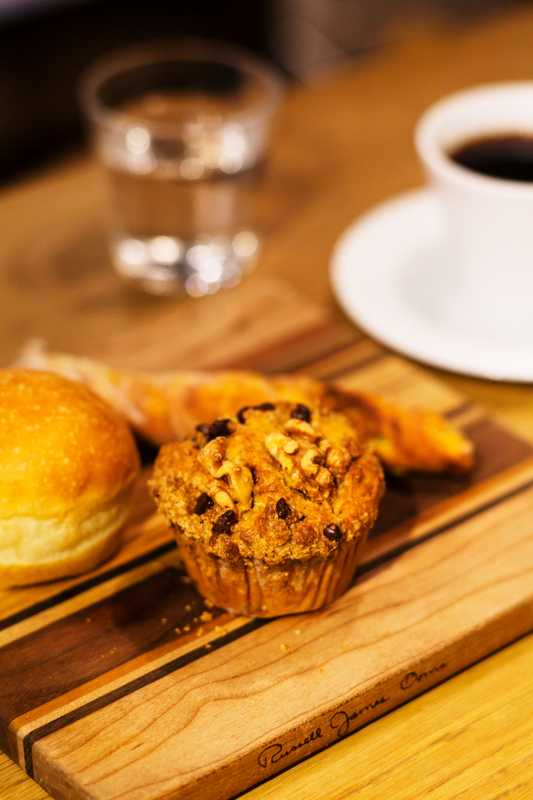 Muffin with in-house coffee beans