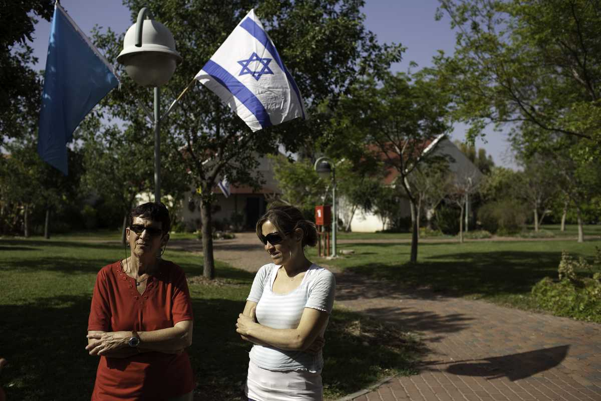 Ruti Lahav and her daughter in-law Yael Lahav, both residents of the Maabarot kibbutz