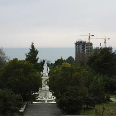 Botanic gardens in Sochi, with the Black Sea in the background