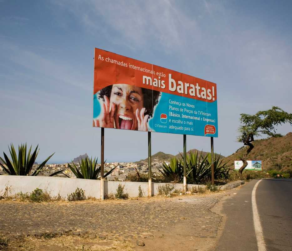 Poster advertising international calls, near Assomada, Santiago