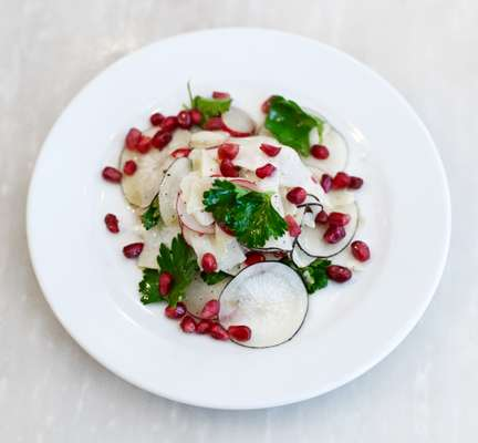 Radish, celeriac and pecorino salad