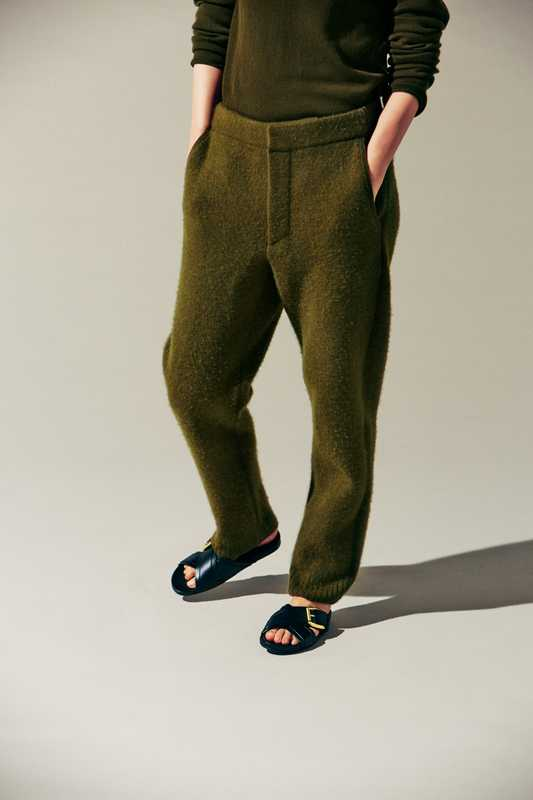 Jumper and trousers by Berluti,  sandals by J&M Davidson