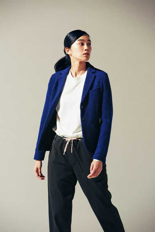 Jacket by Circolo 1901, t-shirt and trousers  by Maison Kitsuné