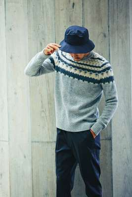 Jumper by Woolrich, trousers by N Hoolywood from Mister Hollywood, hat by Comesandgoes