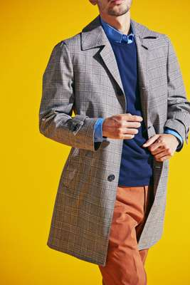 Coat by Orazio Luciano, jumper by Sunspel, shirt by Allege, trousers by PT01
