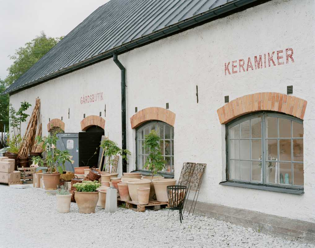 Camilla Jensen's pottery next to a garden shop