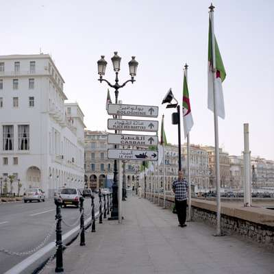 Street signs in Arabic and French on Algiers' Corniche