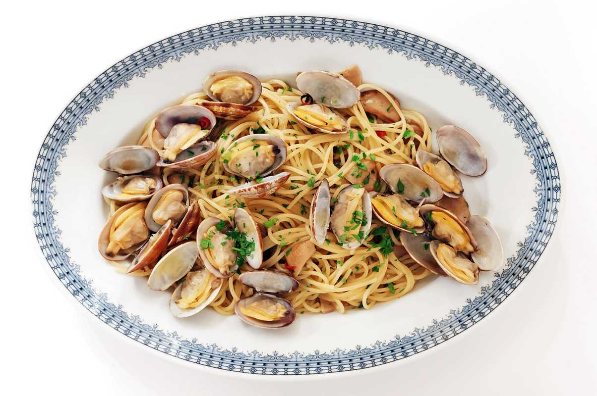 Porcini and clam pasta