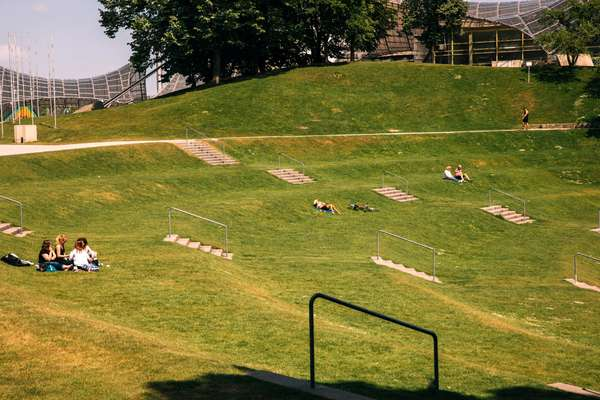 Sunbathing city-style on the stepped meadows
