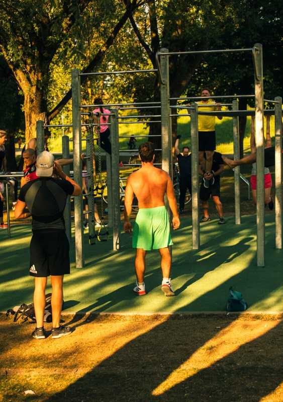 Working up a sweat at the AOK outdoor gym