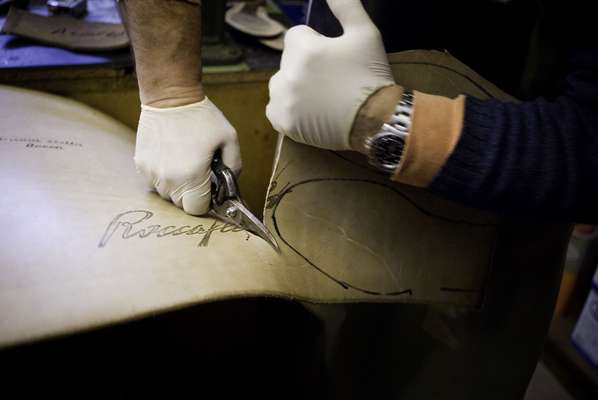 Cutting leather soles