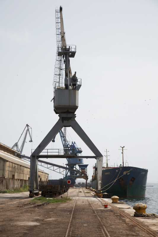 Container crane in the industrial harbour