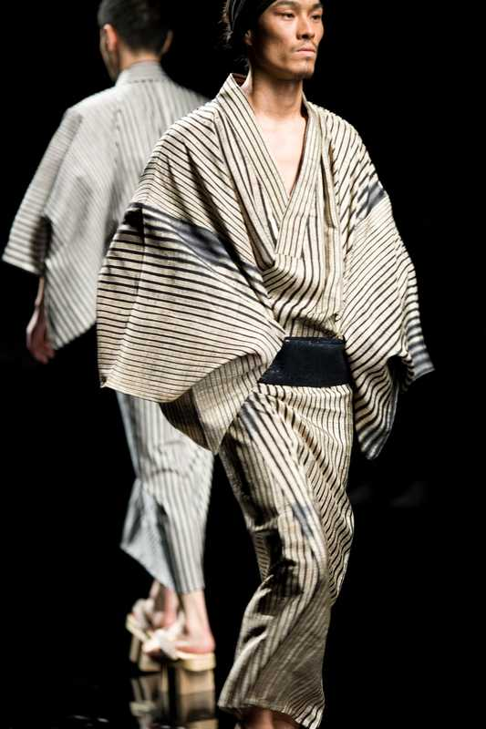 Black and white silk yukata and deerskin obi for United Arrows
