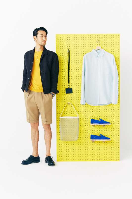 He wears: jacket by Bottega Veneta, polo shirt by Altea, shorts by PT01 Bermuda, shoes by JM Weston, watch by Chanel. On the board: ID case by Tumi x Sophnet, shirt by Onia, bag by Tembea from Beauty&Youth, slip-ons by Loro Piana
