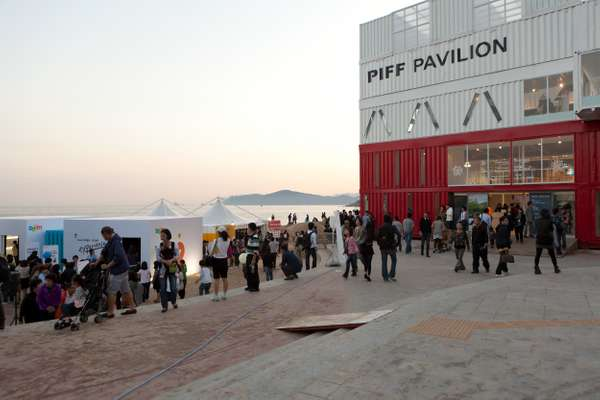 Film festival visitors outside the PIFF pavilion