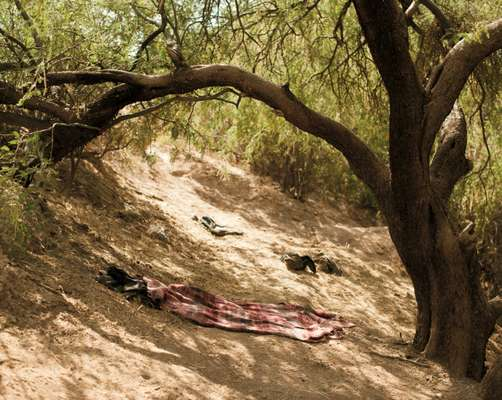 An abandoned sleeping mat in Pinal County, Arizona