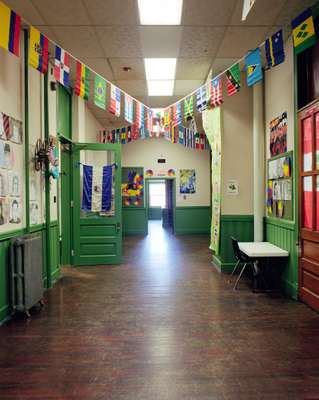 Hallway with world flags
