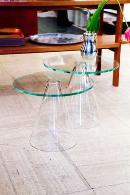 Glass table by Massproductions for Svenskt Tenn
