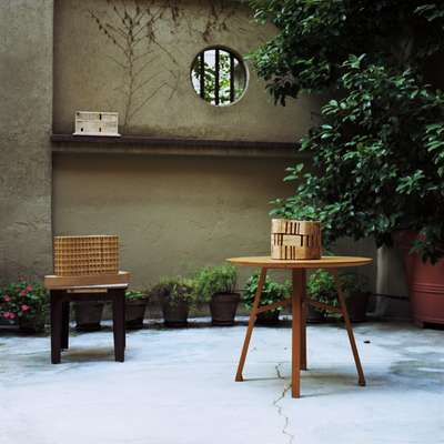 Architectural models in the outdoor garden of the studio