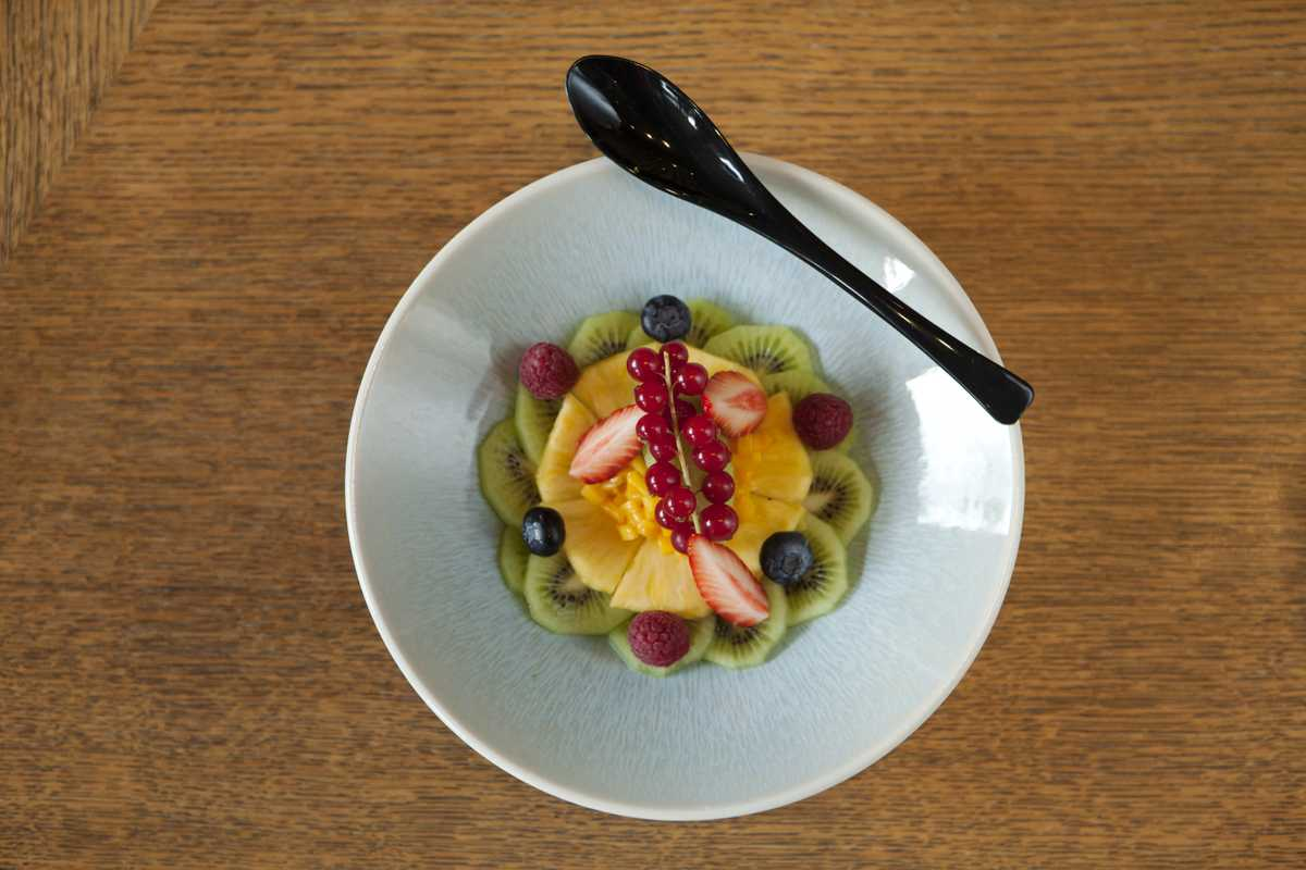 Kudamono fruit salad with pineapple, mango, kiwi and fresh berries