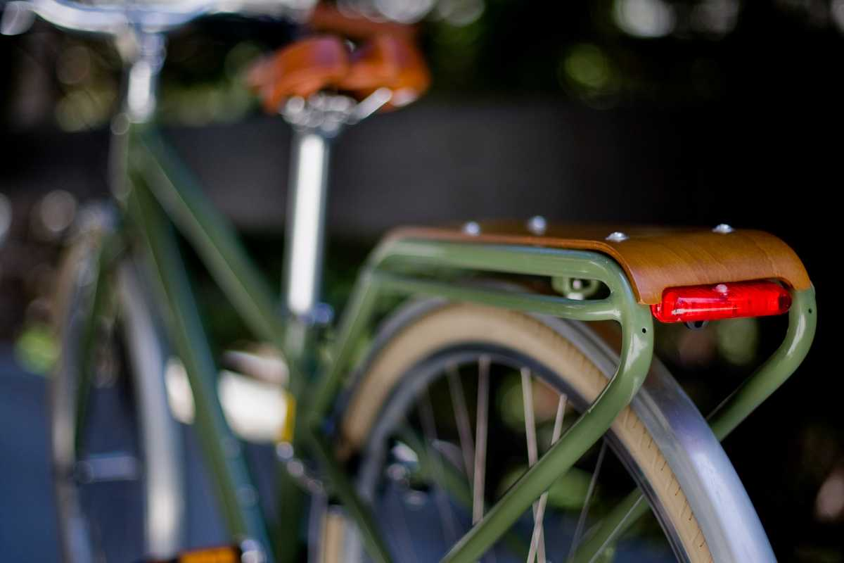 Rear of HAUL bike in an olive green