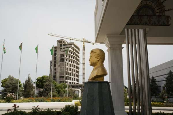 A bust of the former president, Niyazov, at Hotel Serdar in the Avaza resort, an area under construction