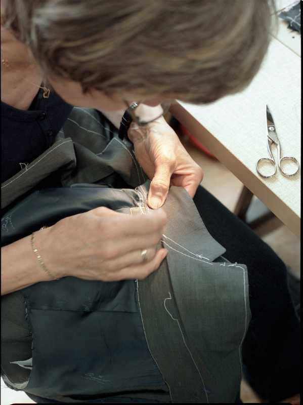 Complicated seams are sewn by hand at Regent