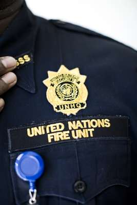 Officer from UN Fire Unit