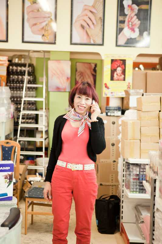 Nguyen in her store in Dong Xuan Center