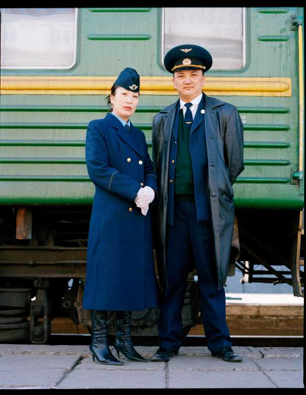 Train guards at Ulan Bator's railway station