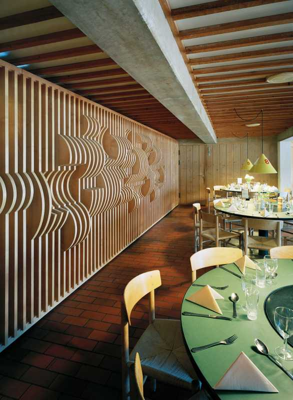 Restaurant with decorative wall