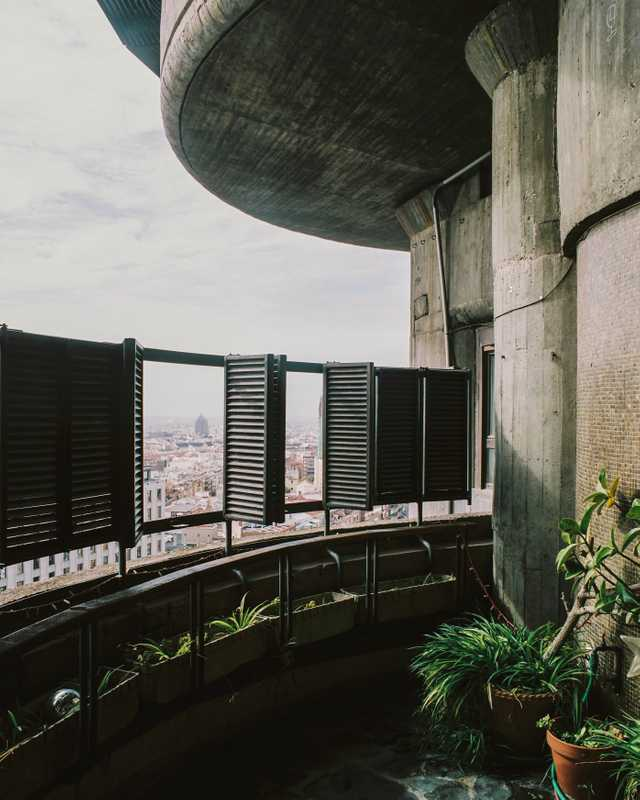 Circular balconies offer spectacular views of Madrid