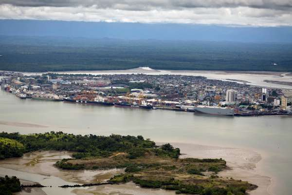 Aerial view of Buenaventura, which controls 60 per cent of Colombia's commercial freight