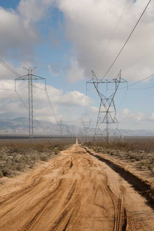Power lines near the town of Mojave