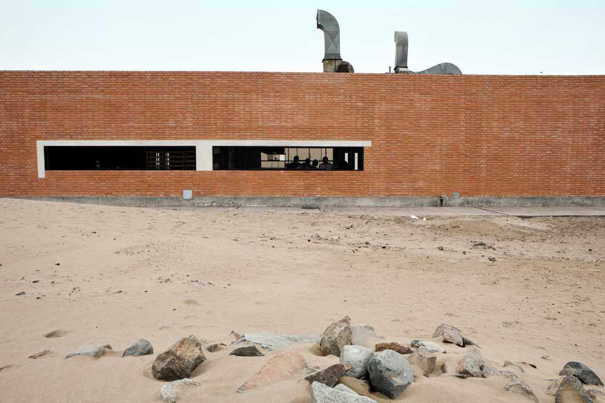 Cooking school's brick building sits on a desert mountain