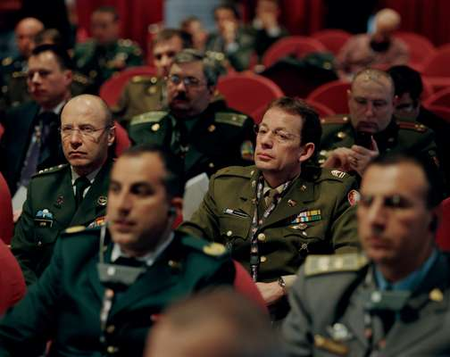 Senior officers at a forum on sport and conflict