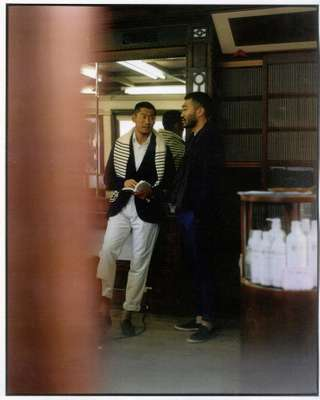 (LEFT): Yusuke wears jumper and jacket both by Polo Ralph Lauren, shirt by Tomorrowland, trousers by Louis Vuitton, shoes by Tod's. (RIGHT) and 8: Taisuke wears jacket by Eleventy for Beams, jumper by Dunhill, shirt by Bally, scarf by Engineered Garments, trousers by pt01 for Beams F, shoes by Parrucci for Tomorrowland