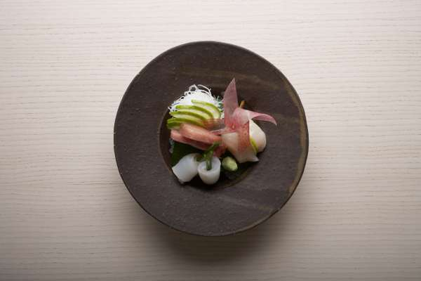 Three kinds of sashimi – Otoro, scallop and turbot on a shiso leaf