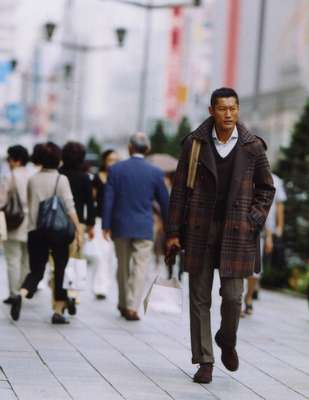 Coat by Bottega Veneta, jumper by Steven Alan from Beauty & Youth United Arrows Shibuya Koendori, shirt by Boss Selection, trousers by Bottega Veneta, bag by J&M Davidson, shoes by Nepenthes, gloves by Dunhill