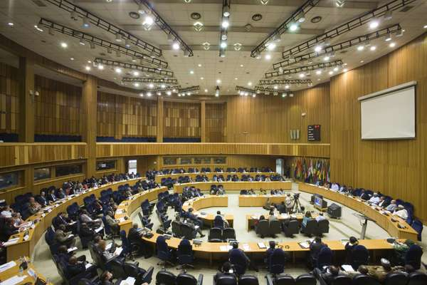 The chamber of the current African Union building in Addis Ababa
