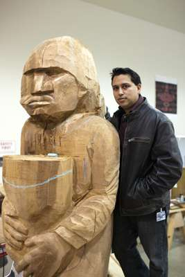 James Madison, a wood carver at Tulalip Tribal art centre