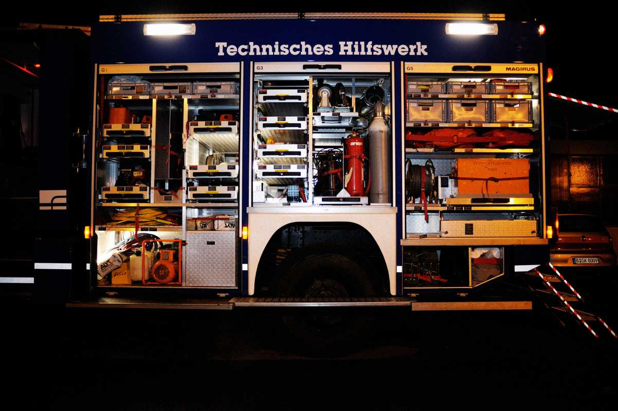 A bespoke THW truck brimming with tools and machinery