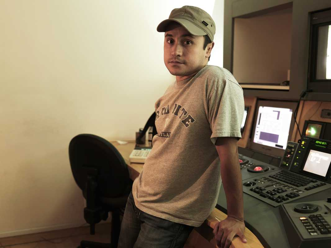 Director Alfonso Pineda-Ulloa at post-production studio Ollin in Mexico City