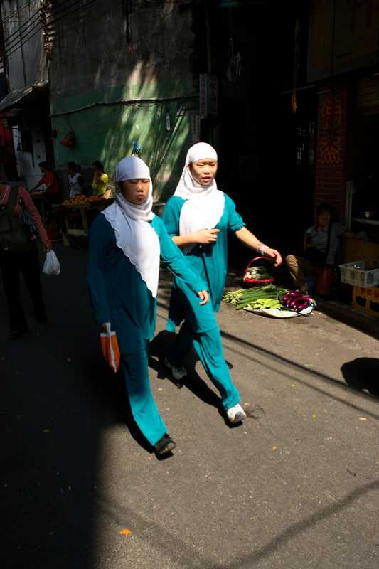 Muslim girls in the Xiaobei area