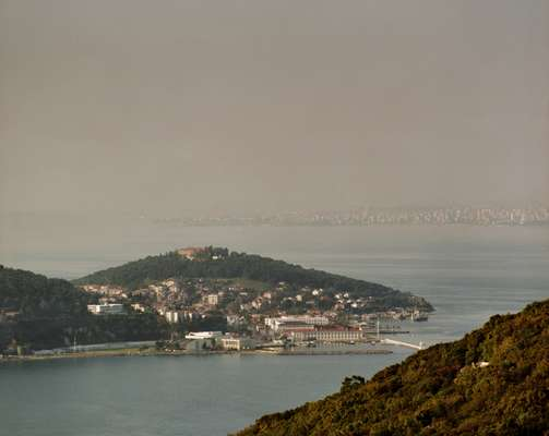 View from the top of Buyukada towards Heybeliada and mainland Istanbul